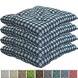 nxtbuy Stuhlkissen 4er Set 38x38 cm Blau Kariert - Gepolstertes Sitzkissen für Indoor und Outdoor -...