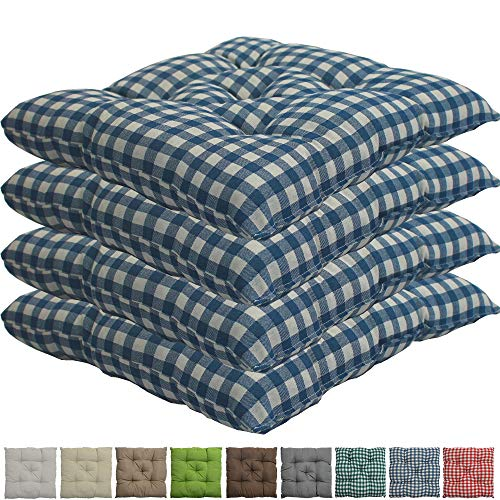 nxtbuy Stuhlkissen 4er Set 38x38 cm Blau Kariert - Gepolstertes Sitzkissen für Indoor und Outdoor - in vielen Farben erhältlich