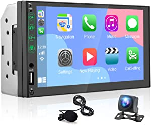 Hikity Double Din Stereo with Apple CarPlay & Android Auto Play 7 Inch Touch Screen Car Radio with Bluetooth+FM, Voice Control & Backup Camera+External Microphone