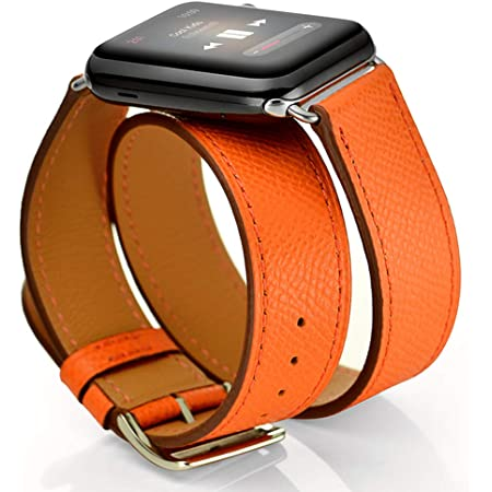 Maxjoy Compatible with Apple Watch Band, Genuine Leather Bands 38mm 40mm 41mm Strap Replacement Wristband with Metal Clasp Compatible with Apple iWatch SE Series 7 6 5 4 3 2 1 Sport Edition, Orange
