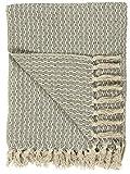 IB Laursen Plaid Decke Sofadecke Bettüberwurf Tagesdecke Staubig Blau Muster Baumwolle 160 x 130 cm 6510-68