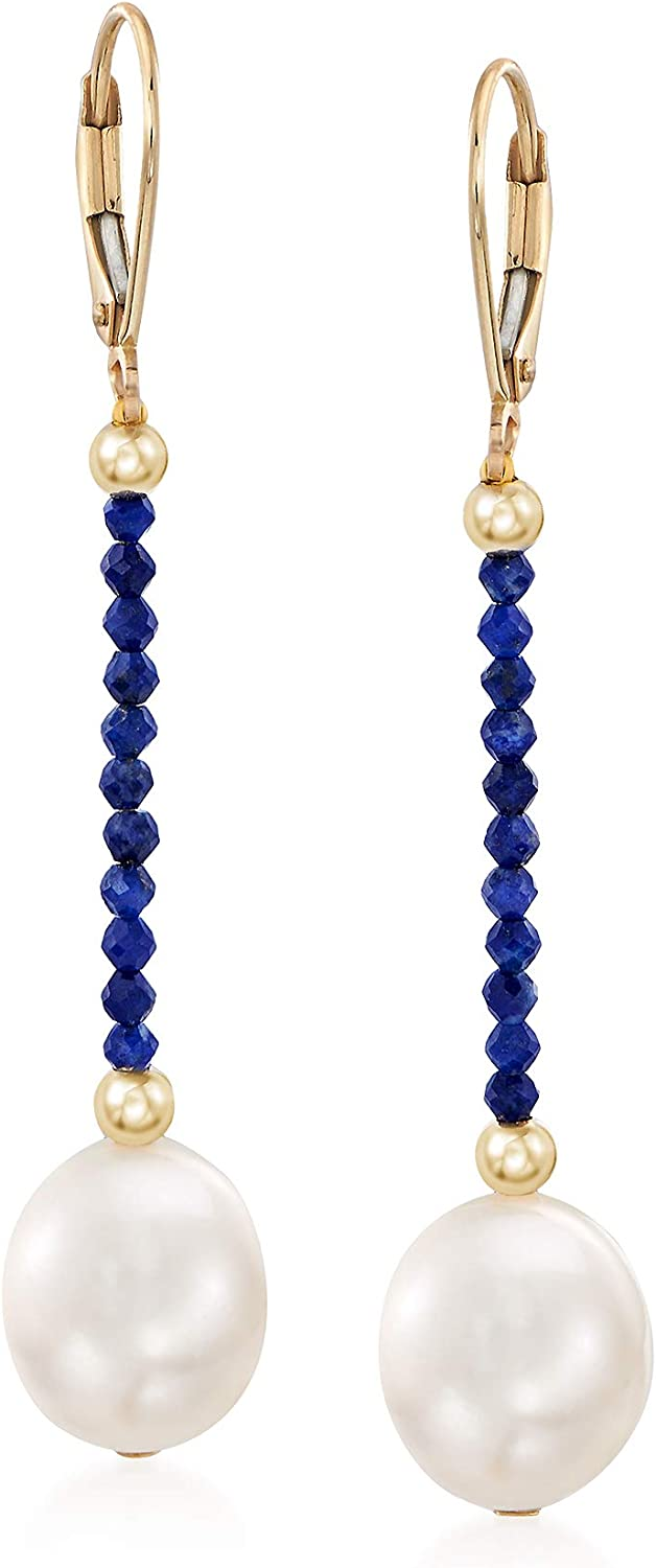 Ross-Simons 10-10.5mm Cultured Pearl and Lapis Bead Drop Earrings in 14kt Yellow Gold