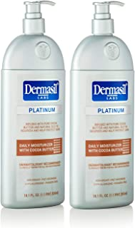 Cocoa Butter Moisturizer Body Lotion - Dermasil Labs Dermatologists Treatment for 24 Hour Dry Skin Lotion by Dermasil Platinum: Protects, Moisturizes and Softens Dry Skin (Pack of 2)