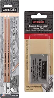 General Pencil Charcoal White Pencils 2/Pkg with General Pencil Kneaded Rubber Erase