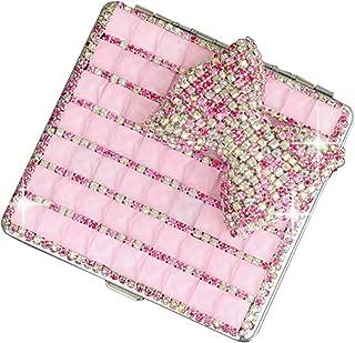 Lzttyee Alloy Portable Women Cigarette Box Case Bling Bling Pocket Carrying Cigarettes Storage Holder (Pink)