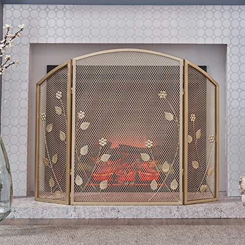 HYDT Kaminfunkenschutz Feuerwehr, American Country Gold Schmiedeeisen Kamin Trennwand, Kaminabdeckung Haushaltsgürtelnetz 3 Panel, hoch 78cm (Color : Gold, Size : 55×25×78cm)