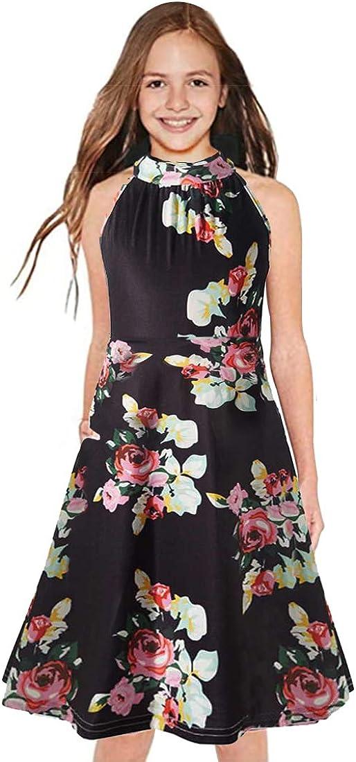 Girls Summer Cold Shoulder Floral Sundress Casual Long Maxi Dress with Pocket