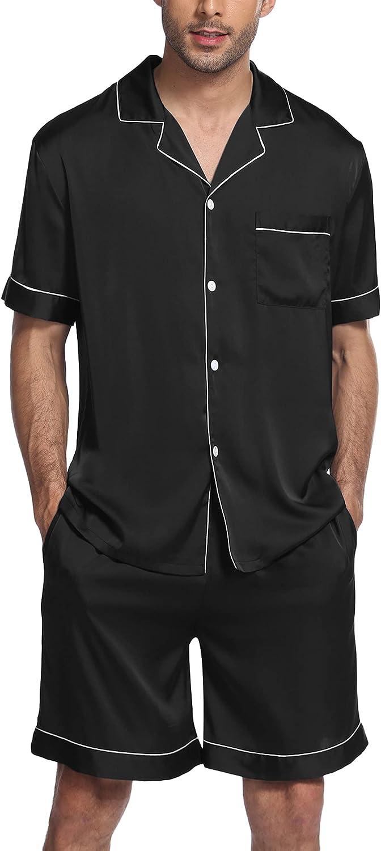 Ekouaer Men's Satin Pajamas Shorts Sets Button-Down Short Sleeve PJ Sets Sleepwear Loungewear Nightwear