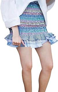 レディース ミニスカート 彩色縞柄 フレアスカート 春 夏 体型カバー 美脚 美尻 エレガント 通勤 パーティー 旅行 シンプル 可愛い