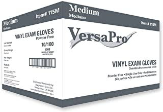 VersaPro V115 V115M Vinyl Exam Gloves, Powder Free, Medium (Pack of 1000), Clear