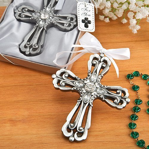 Silver Cross Ornament with Antique Finish - Set of 3