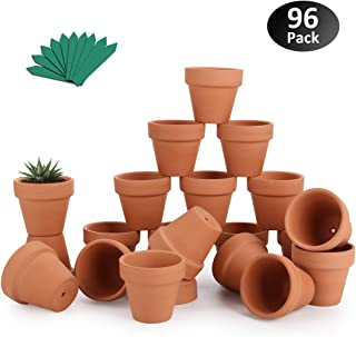 "GROWNEER 96-Pack 2"" Mini Clay Pots Terracotta Pot with 25 Pcs Plant Labels, Ceramic Pottery Planter Cactus Succulent Nursery Pots, for Indoor Outdoor Plants, Crafts, DIY, Wedding Favor"