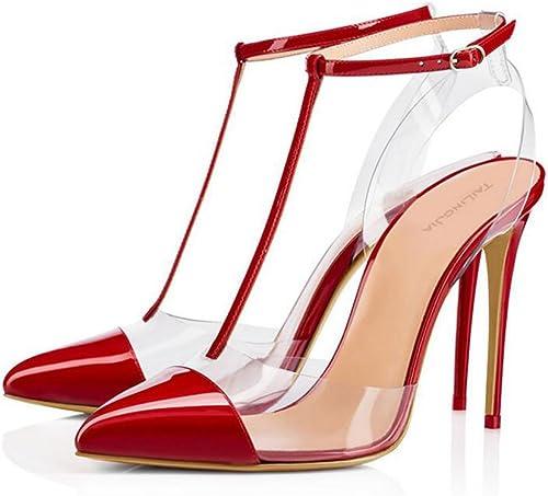 XDGG Femmes Transparent Rivet à Talons Hauts PVC Sandales Grande Grande Taille Rivet Boucle En Cuir Couture Pointu Toe Chaussures Seules 40-46,rouge,38  voici la dernière