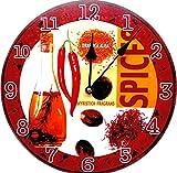 Tinas Collection - Reloj de pared (30 cm de diámetro), diseño retro de dos tazas de café con texto 'Cappucino