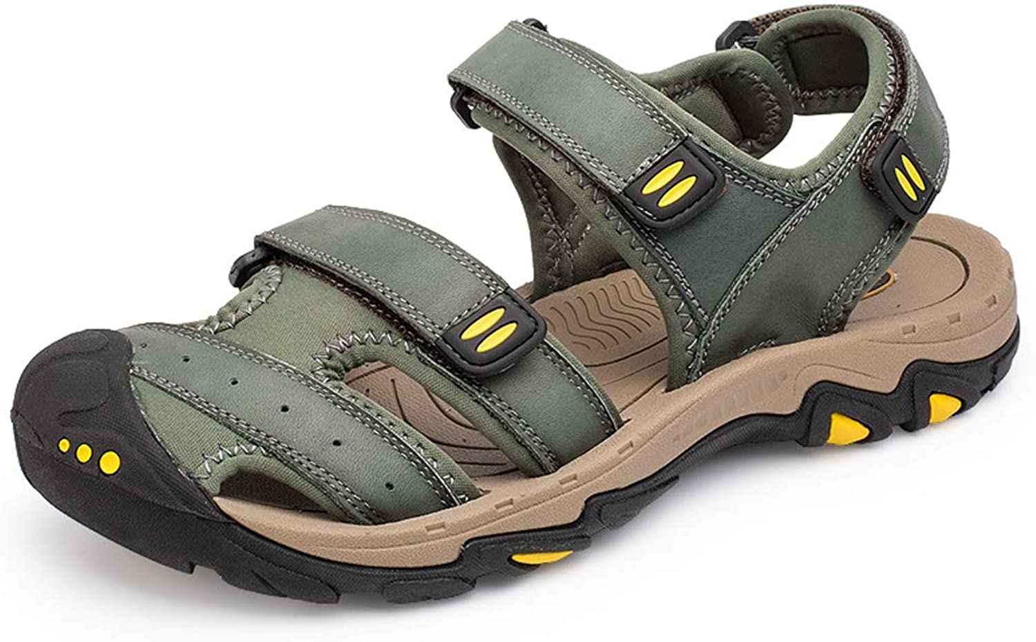 Men's Sporty Outdoor Sandal shoes,Men's Leather Beach shoes Breathable Casual Sandals Velcro Off-Road Sandals Waterproof