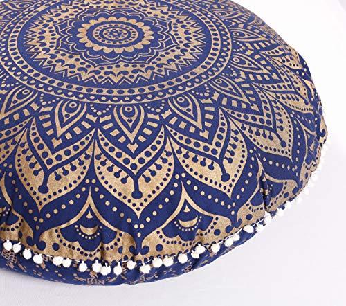 Popular Handicrafts Mandala Round Hippie Floor Pillow Cover   100% Cotton Luxury, Artisan Room D
