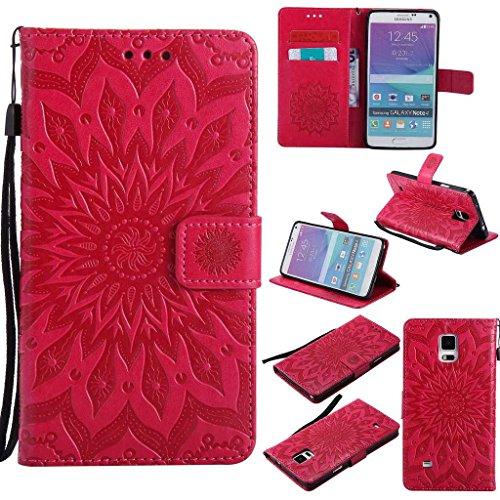 BoxTii Coque Galaxy Note 4, Etui en Cuir de Première Qualité, Housse Coque pour Samsung Galaxy Note 4 (#5 Rouge)