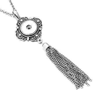 Long Rhinestone Accented Snap Charm Tassel Necklace