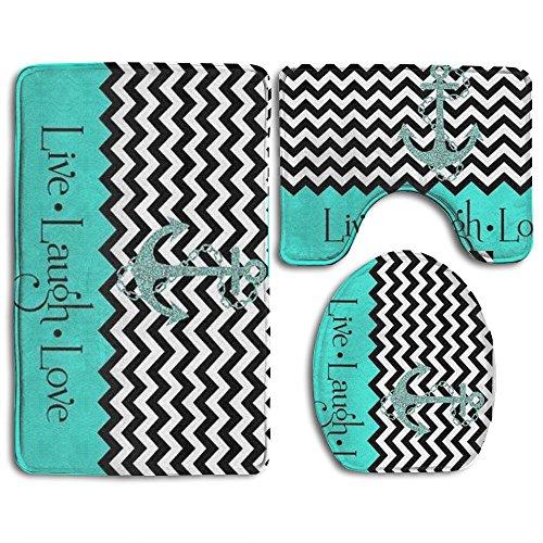 KAHmn Live Love Laugh In Turquoise Colorblock - Alfombra de baño con ancla, 3 piezas, incluye alfombrilla de baño, tapa, tapa para inodoro, decoración para el hogar