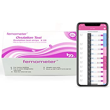 Femometer Ovulation Test Strips Kit, 20 LH OPK, Sensitive Fertility Predictor Testing Sticks, Accurate Results with Smart App (iOS & Android) and Can Save All Test Strip Result