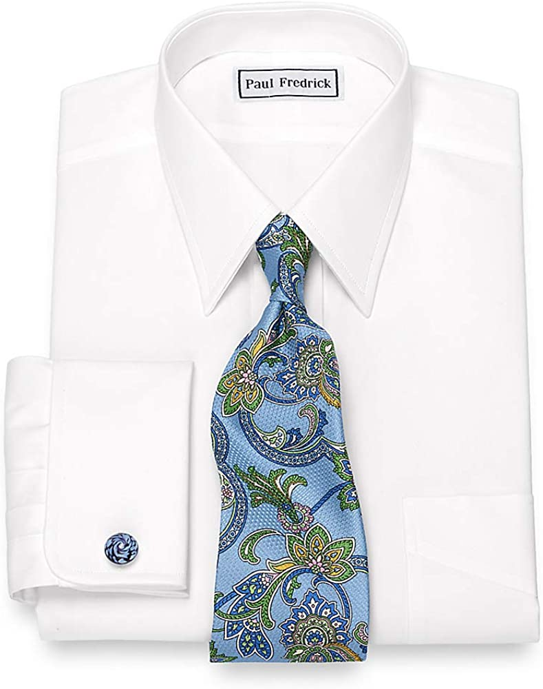 Paul Fredrick Men's Egyptian Cotton Straight Collar French Cuff Dress Shirt