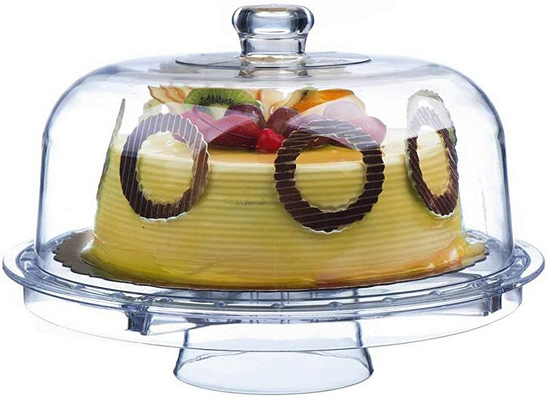 Tebery 6 In 1 Acrylic Cake Stand Cake Plate With 12 Dome Multi Function Serving Platter Salad Punch Bowl