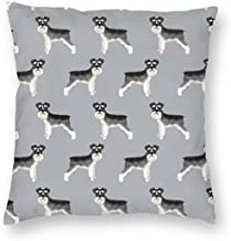 Pillowcases Schnauzer Black and White Dog Plain Grey for Sofa Bedroom livingroomTwo Sides Printing 18x18 inch
