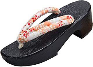 Jiyaru Geta Wodden Clogs Sandals Japanese Traditional Style Shoes Floral Getas Slippers for Women