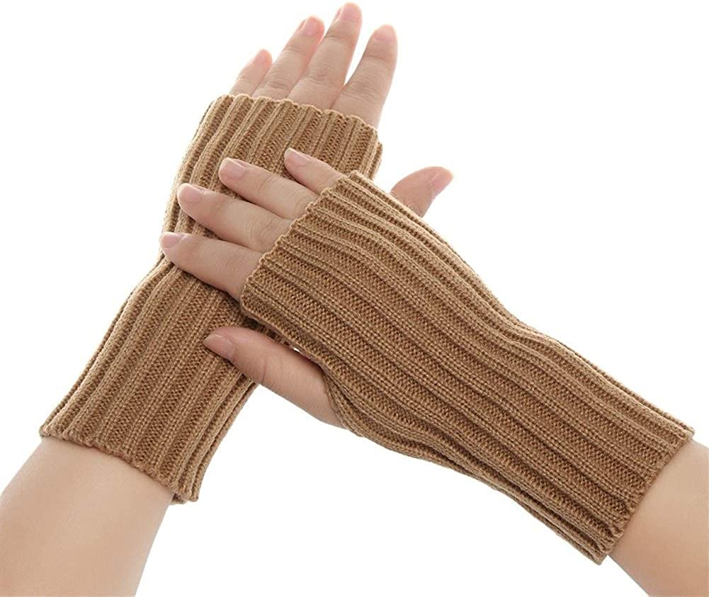 1 Pair Autumn Winter Spring Warm Women Solid Gloves Arm Warmer Long Fingerless Knitting Wool Mittens