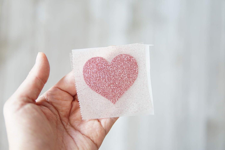 50 Glitter heart shape Iron on transfers t shirts craft  2cm