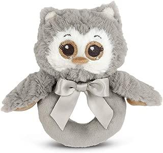 Bearington Baby Lil' Owlie Plush Stuffed Animal Gray Owl Soft Ring Rattle, 5.5