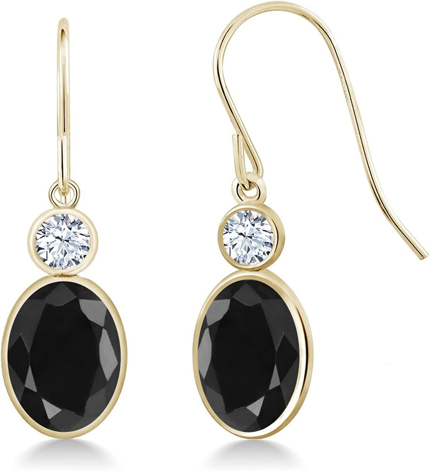 3.58 Ct Oval Black Sapphire White Created Sapphire 14K Yellow gold Earrings