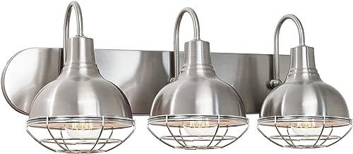 "Kira Home Liberty 24"" 3-Light Modern Industrial Vanity/Bathroom, Kitchen Light + Metal Cage Shades, Brushed Nickel Fi..."