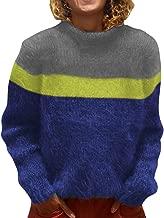 LONGDAY Color Block Oversized Crewneck Striped Jumper Women Turtleneck Long Sleeve Chunky Knit Pullover Sweater Top