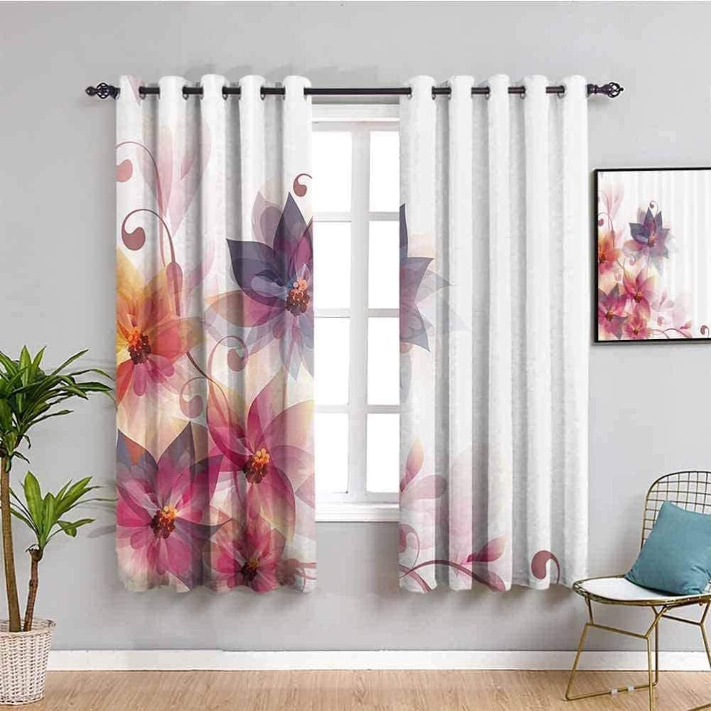 ZLYYH Window Curtains Color Flower New life Abstract Art Simplicity W66 x Gifts