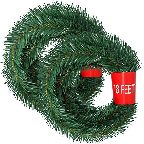 DearHouse 40Feet Christmas Garland, 2 Strands Artificial Pine Garland Soft Greenery Garland for Holiday Wedding Party,Stairs,Fireplaces Decoration, Outdoor/Indoor Use