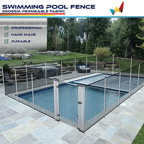 Windscreen4less Outdoor Safety Mesh Pool Fence for Inground Pools Freestanding Removable Security Fencing with Poles Sleeves Backyard Deck Garden Patio Fence Panel 4'x16'