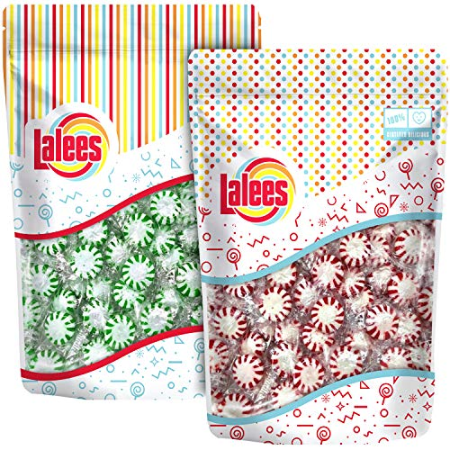 Lalees Peppermint Starlights White Center - Spearmint Starlights - Individually Wrapped, Hard Candy Variety Pack