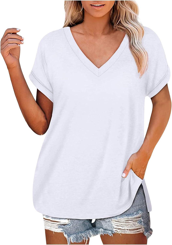 shaozheny Womens Summer Shorts Sleeve Tshirts V Neck Casual Tee Tops Loose Blouse Tunic Shirts