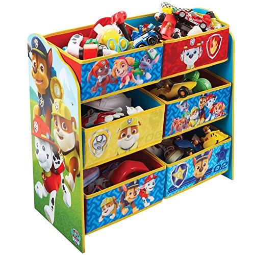 PAW PATROL Regal zur Spielzeugaufbewahrung mit sechs Kisten für Kinder, Holz, Red and Blue, 30 x 63.5 x 60 cm