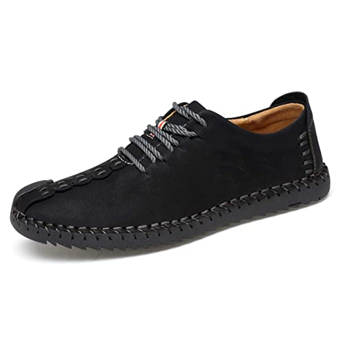 TUCSSON Mens Handmade Suede Leather Oxford Shoes British Style Flats Lace-up Loafers Casual Sneakers