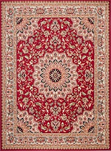 Simbad F740A - Alfombra clásica para salón, clásica y moderna floral persa (Red, 130 x 190 cm)