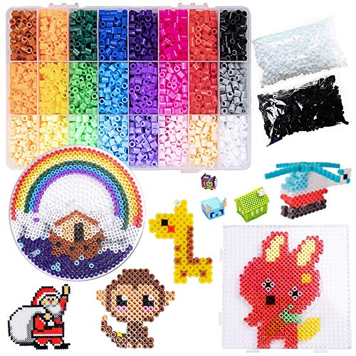 Fuse Beads Kit in 24 Colors Fusion Beads 7200pcs, 5mm DIY Art Craft Toys Iron Beads for Kids, Bead Melting Craft Kit
