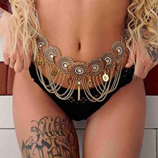 Victray Boho Waist Chains Belly Body Chains Party Belts Fashion Body Accessories Jewelry for Women and Girls (Gold)