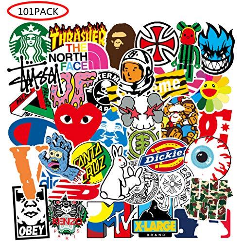 Cool Brand Stickers 101 Pack Decals for Laptop Computer Skateboard Water Bottles Car Teens Sticker