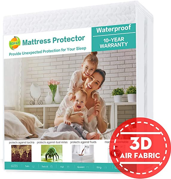 SOPAT King Mattress Protector 100 Waterproof Mattress Pad Cover 3D Air Fabric Breathable Smooth Soft Cover