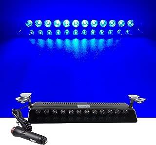 12V Car Truck Emergency Strobe Flash Light Sucker Dashboard Interior Windshield Warning Light Bar Current (12LED, Blue)