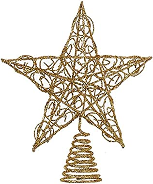 Kurt Adler Chirstmas Tree Topper Gold Glittered Wire Star Tree Topper 6 inches