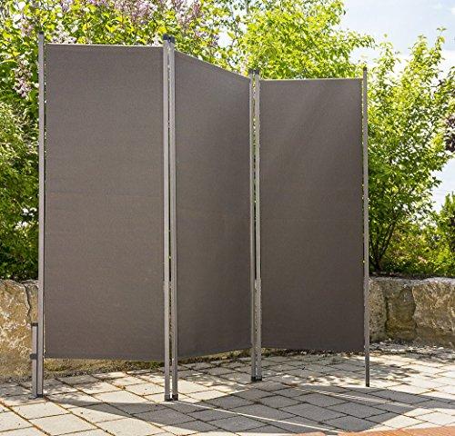 CV Outdoor Paravent anthrazit Metall/Stoff Sichtschutz Windschutz Sonnenschutz für draussen
