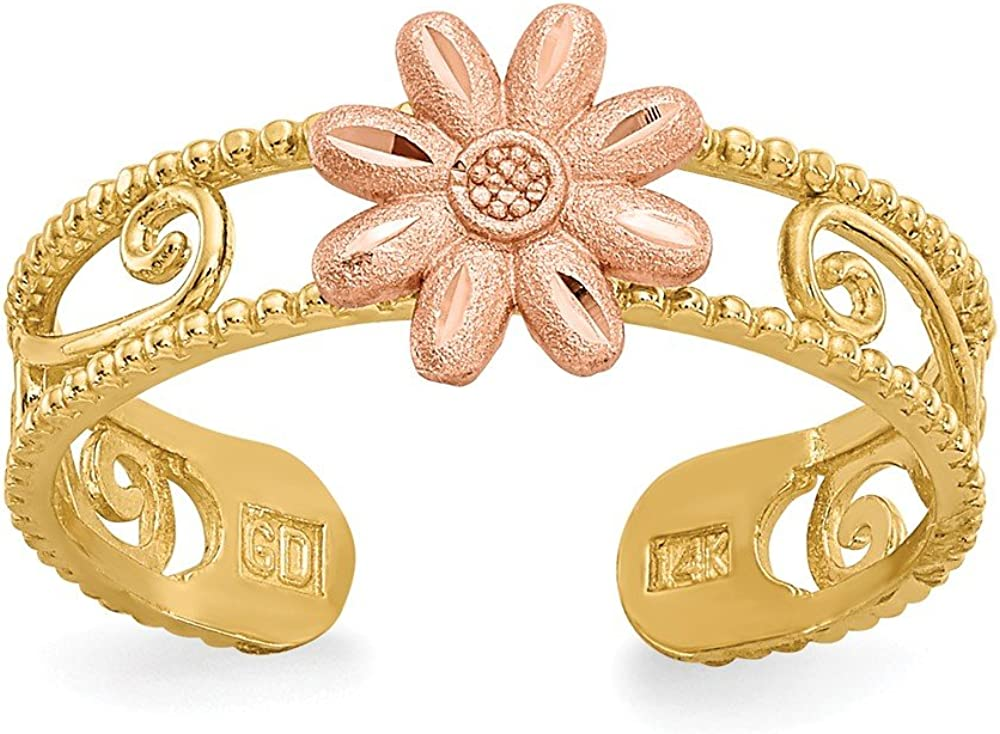 Solid 14k Yellow Gold Two-tone Flower Toe Ring Adjustable
